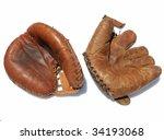used baseball mitten and gloves ... | Shutterstock . vector #34193068