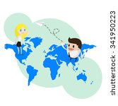 businessman shutting paper... | Shutterstock .eps vector #341950223