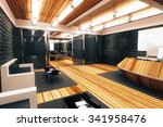 modern loft style spacious... | Shutterstock . vector #341958476