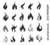 vector black fire icons set on... | Shutterstock .eps vector #341989889
