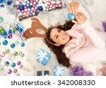 Happy Woman Lying On Floor ...