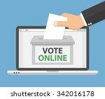 voting online concept. hand... | Shutterstock .eps vector #342016178