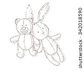 toy set. teddy bear and rabbit.