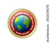 golden worldwide shipping badge ... | Shutterstock .eps vector #342019670
