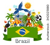 brazil background with stylized ... | Shutterstock .eps vector #342025880