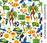 brazil seamless pattern with... | Shutterstock .eps vector #342025904