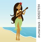 hula girl playing the ukulele | Shutterstock .eps vector #342027554