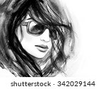 woman with glasses.watercolor... | Shutterstock . vector #342029144