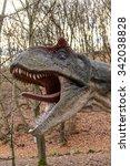Small photo of BRATISLAVA, SLOVAKIA - OCT 18, 2015: Allosaurus in DinoPark in Bratislava, Slovakia. Allosaurus is a genus of large theropod dinosaur