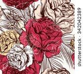 hand drawn seamless wallpaper... | Shutterstock .eps vector #342042389