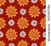 sunflower seamless background... | Shutterstock .eps vector #342042584