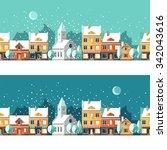winter town. urban winter... | Shutterstock .eps vector #342043616