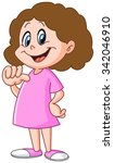 young girl pointing at herself... | Shutterstock .eps vector #342046910