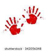 two hands print in blood | Shutterstock . vector #342056348
