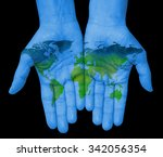 the world in your hand. hands... | Shutterstock . vector #342056354