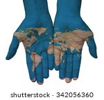 the world in your hand. hands... | Shutterstock . vector #342056360