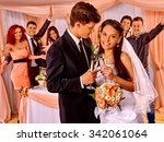 happy wedding couple and large... | Shutterstock . vector #342061064