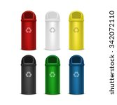 set of recycle bins for trash... | Shutterstock . vector #342072110