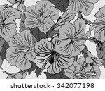 seamless fhibiscus flowers... | Shutterstock .eps vector #342077198
