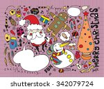 hand drawn christmas characters ... | Shutterstock .eps vector #342079724