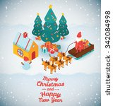 merry christmas and happy new... | Shutterstock .eps vector #342084998