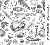 hand drawn sketch thanksgiving... | Shutterstock .eps vector #342086150