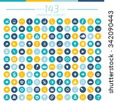 143 universal website icon set... | Shutterstock .eps vector #342090443