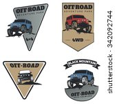 set of classic off road suv car ... | Shutterstock .eps vector #342092744