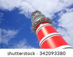 lighthouse a sunny day with... | Shutterstock . vector #342093380