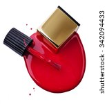 red nail polish spilled on a... | Shutterstock . vector #342094433