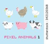 pixel art style farm animals... | Shutterstock .eps vector #342120368