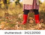 stylish toddler in red boots   Shutterstock . vector #342120500