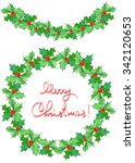 christmas wreath  frame  and... | Shutterstock . vector #342120653
