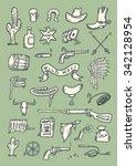 hand drawn wild western set | Shutterstock .eps vector #342128954