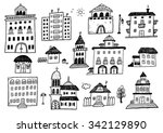 hand drawn black house sketches ... | Shutterstock .eps vector #342129890