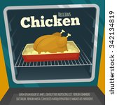 poster with delicious chicken... | Shutterstock .eps vector #342134819