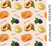 pattern fresh fruit. mix fruits ... | Shutterstock .eps vector #342139670