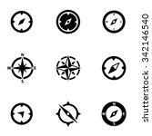 vector black compass icon set | Shutterstock .eps vector #342146540