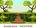 bridge over the precipice in...   Shutterstock .eps vector #342147650