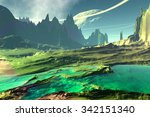 rocks and  lake. landscape of... | Shutterstock . vector #342151340