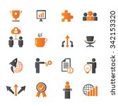 business icon set   gray and... | Shutterstock .eps vector #342153320