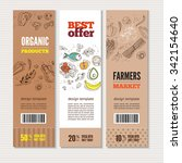 set of banners with organic... | Shutterstock .eps vector #342154640