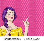 pop art  woman pointing finger... | Shutterstock . vector #342156620