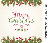 christmas card with greetings | Shutterstock .eps vector #342160250
