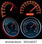 speedometers  vector  | Shutterstock .eps vector #34216027