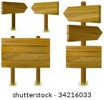 set of wooden road signs | Shutterstock .eps vector #34216033