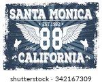 california santa monica surfing ... | Shutterstock .eps vector #342167309