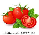 fresh tomatoes with basil on... | Shutterstock .eps vector #342175130