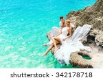 happy groom and bride on the... | Shutterstock . vector #342178718