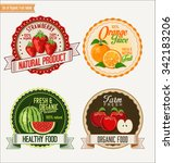 set of fresh and organic labels | Shutterstock .eps vector #342183206